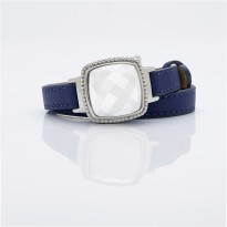 White Dial and Blue Leather Bracelet