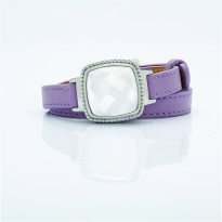 White Dial and Lavender Leather Bracelet