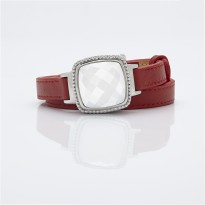 White Dial and Red Leather Bracelet