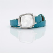 White Dial and Turquoise Leather Bracelet