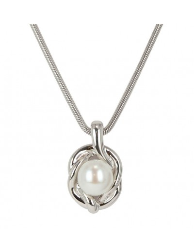 362b74485 Sterling Silver 9.5-10MM White Button Freshwater Cultured Pearl Pendant on  18 Chain