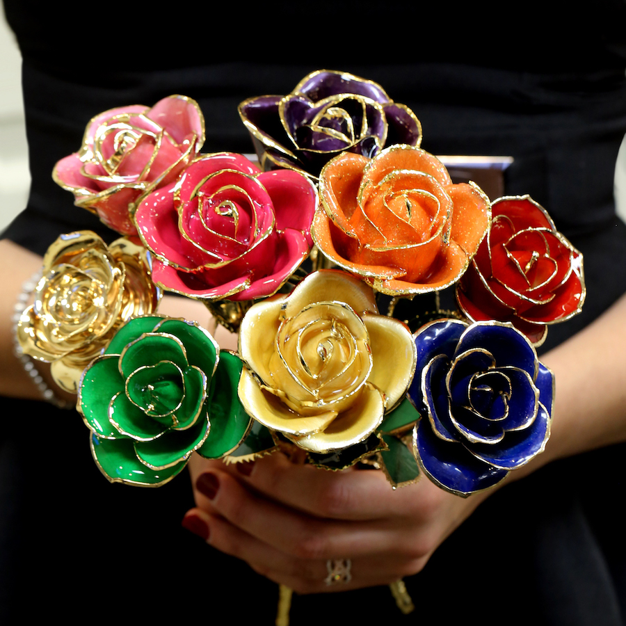 Gold and Platinum Dipped Roses